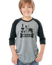 I Love My Bully V.2. Kids Baseball Tee pink sleeves or black sleeves