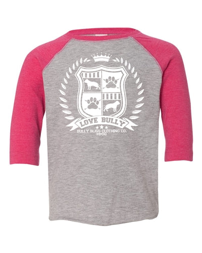 LB SHIELD COLLECTION PINK TODDLER BASEBALL TEE