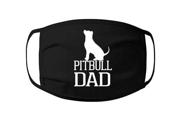 Pitbull Dad Face Mask with Pit Bull sitting
