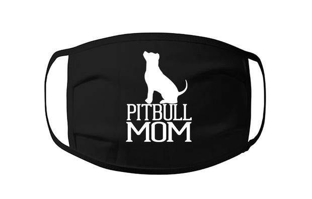 Pitbull Mom Face Mask with Pit Bull sitting