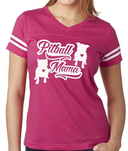 Pitbull Mama vneck football jersey
