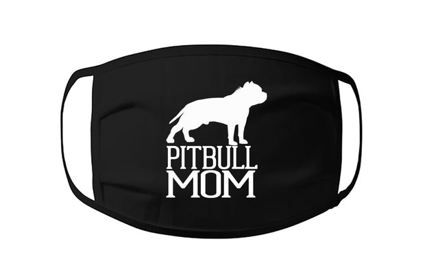Pitbull Mom Face Mask with Side Silhouette