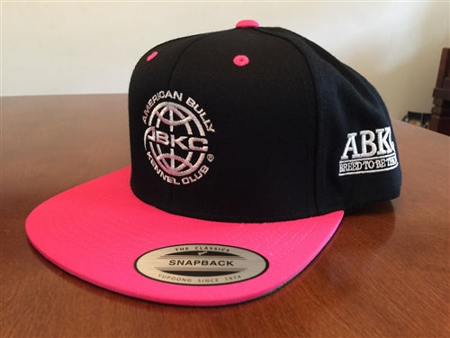 ABKC  Black with Pink bill Flatbill Snapback