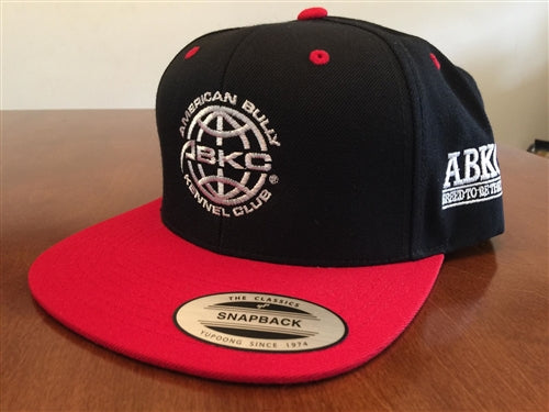 ABKC  Black with Red bill Flatbill Snapback