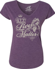 All Lives Matter Pit Bull Bully Ladies V Neck Tee