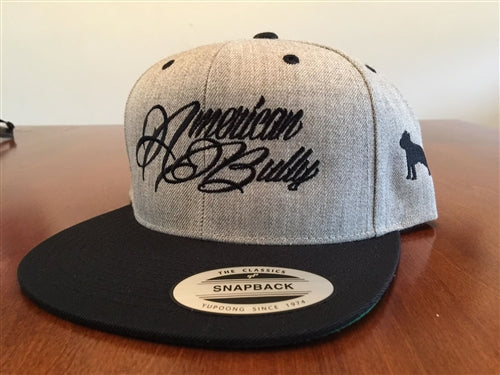American Bully Twill Gray Black bill Flatbill Snapback