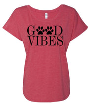 Good Vibes Paw Print Flowy Style Shirt