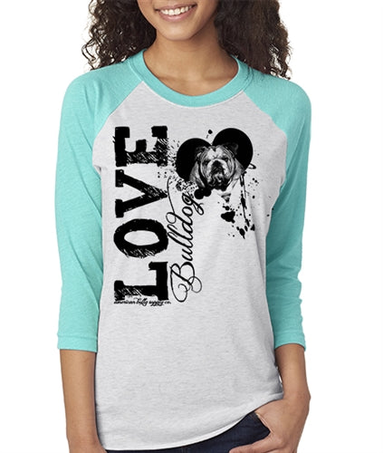 Love A Bulldog Women's Bulldog Baseball Tee Unisex Sizing