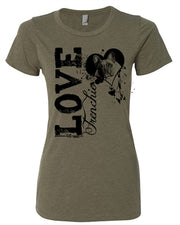 Love A Frenchie French Bulldog Women's Fitted Crew Neck Shirt