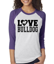Love Bulldog Womens English Bulldog Raglan Baseball Shirt