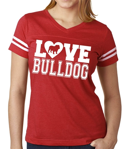 Love Bulldog Women's Football Jersey English Bulldog Shirt