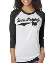 Team Bulldog Women's Bulldog Baseball Tee  Sizes XS-3X Unisex Sizing