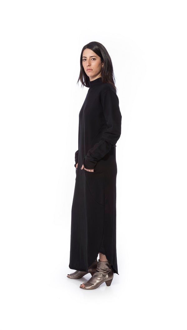 Long sleeve maxi dress+pockets