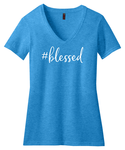 #blessed turquoise graphic tee for women