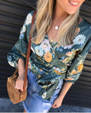 Green Floral Wrap Top