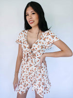 White Dress with orange floral print