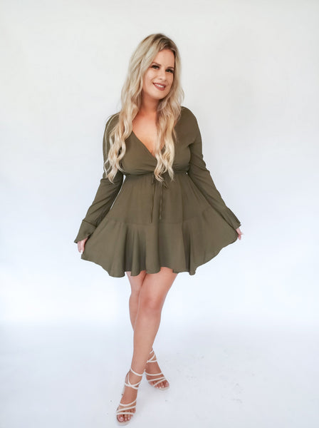 Khaki Dress With Flare Sleeves