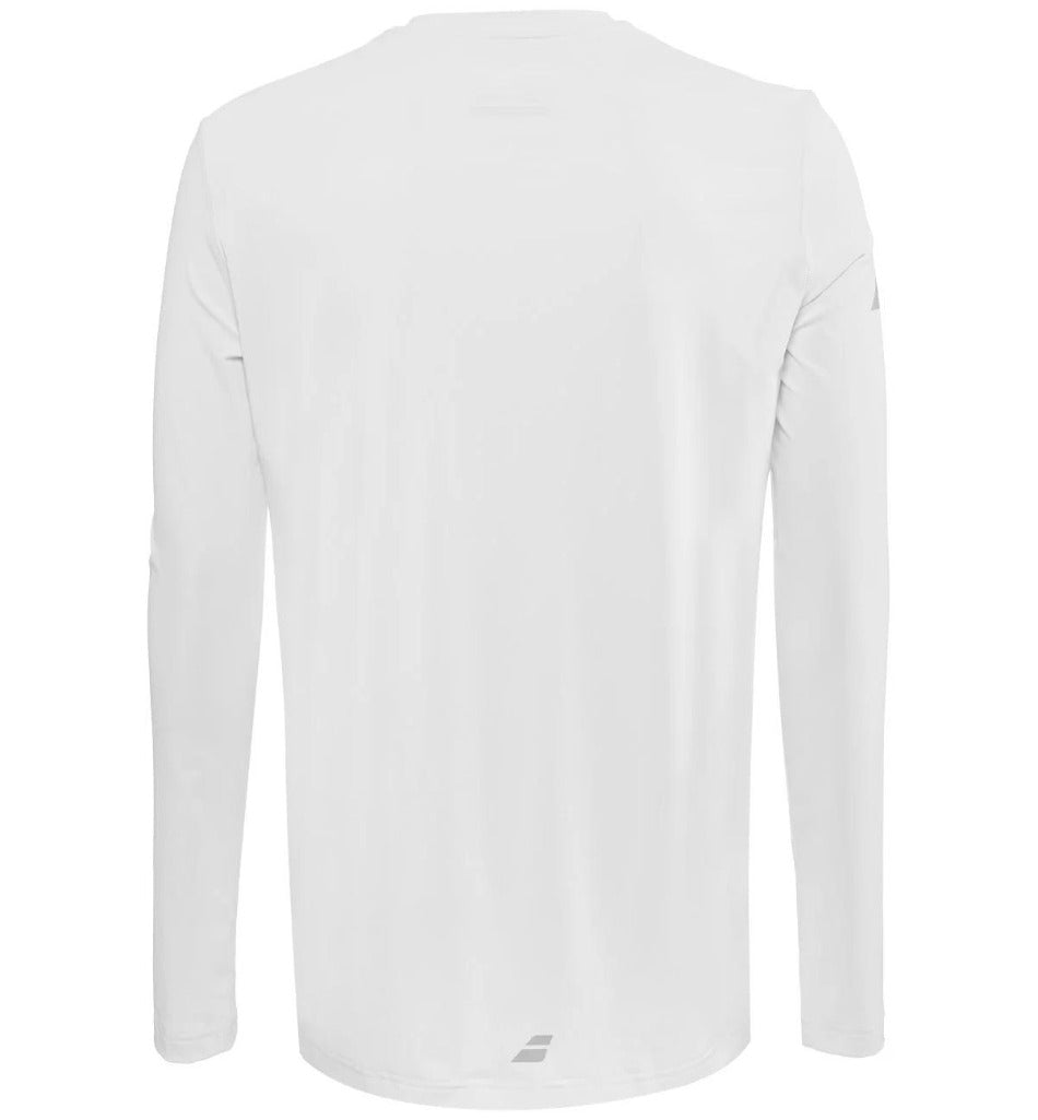 Babolat Mens Play Long Sleeve Tee - White - All Things Tennis