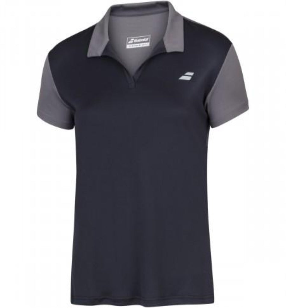Babolat Play Women's Polo - Black/Grey - All Things Tennis