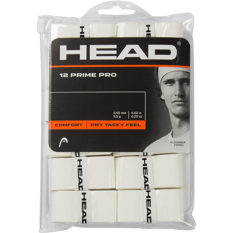 Head Prime Overgrips (Pack of 12) - White - All Things Tennis