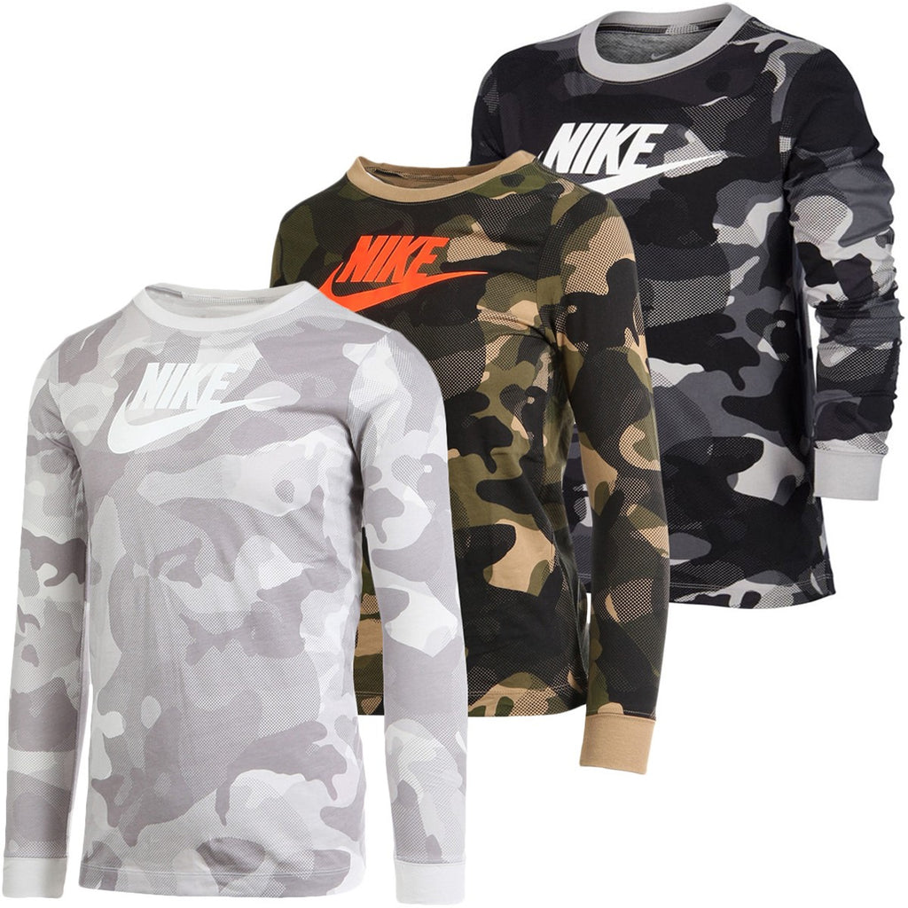 JUNIOR NIKE CAMOUFLAGE LONG-SLEEVE T-SHIRT - All Things Tennis