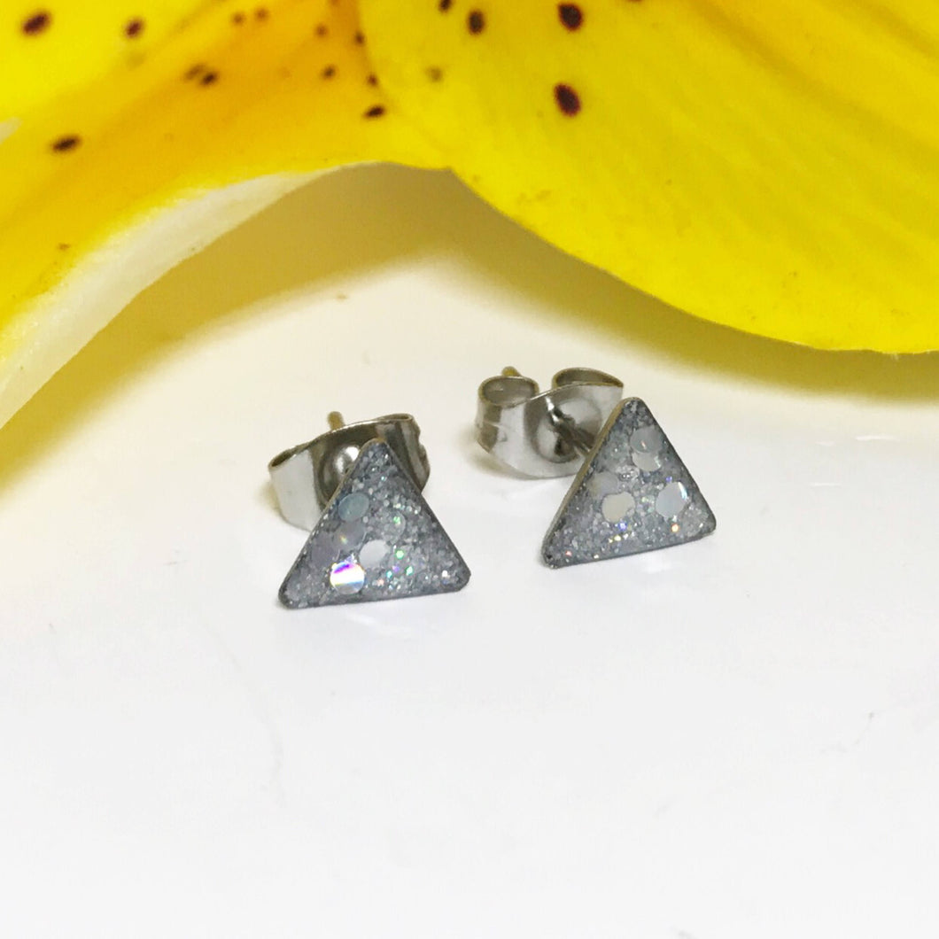 Holographic Glitter Earrings | Sparkle Earrings | Geometric Earrings | Triangle Earrings | Stainless Steel Studs | Resin Earrings | Irridece