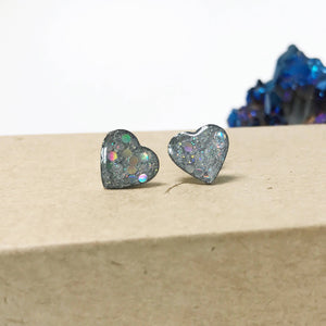 Holographic Glitter Earrings | Heart Earrings | Geometric Earrings | Moon Earrings | Stainless Steel Studs | Resin Earrings | Iridescent