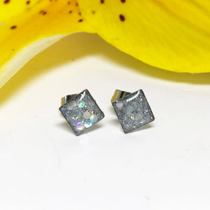 Holographic Glitter Earrings | Sparkle Earrings | Geometric Earrings | Square Earrings | Stainless Steel Studs | Resin Earrings | Irridecent