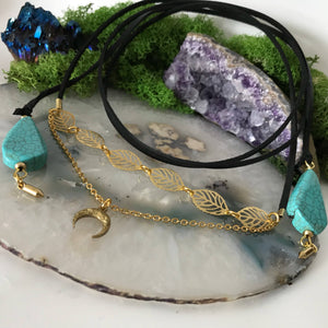 Black Choker Necklace | Suede Choker | Turquoise Crystal Choker | Wrap Choker | Gold Choker | Stack Choker | Vegan Suede | Raw Brass Moon