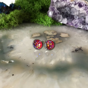 Red Earrings | 8 mm druzy earrings | Galaxy Earring | Crystal Earring | Faux Druzy Stud | 8mm Round | Hypoallergenic | Stainless Steel Studs