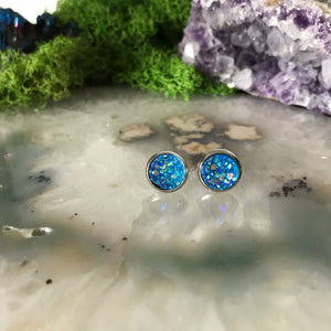 Cobalt Blue Earrings | 8 mm druzy earrings | Galaxy Earring | Crystal Earring | Faux Druzy Stud | 8mm Round | Hypoallergenic | Stainless
