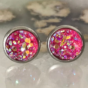 Hot Pink Earrings | 8 mm druzy earrings | Galaxy Earring | Crystal Earring | Faux Druzy Stud | 8mm Round | Hypoallergenic | Stainless Steel