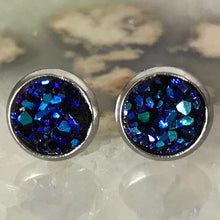 Dark Blue Earrings | 8 mm druzy earrings | Galaxy Earring | Crystal Earring | Faux Druzy Stud | 8mm Round | Hypoallergenic | Stainless