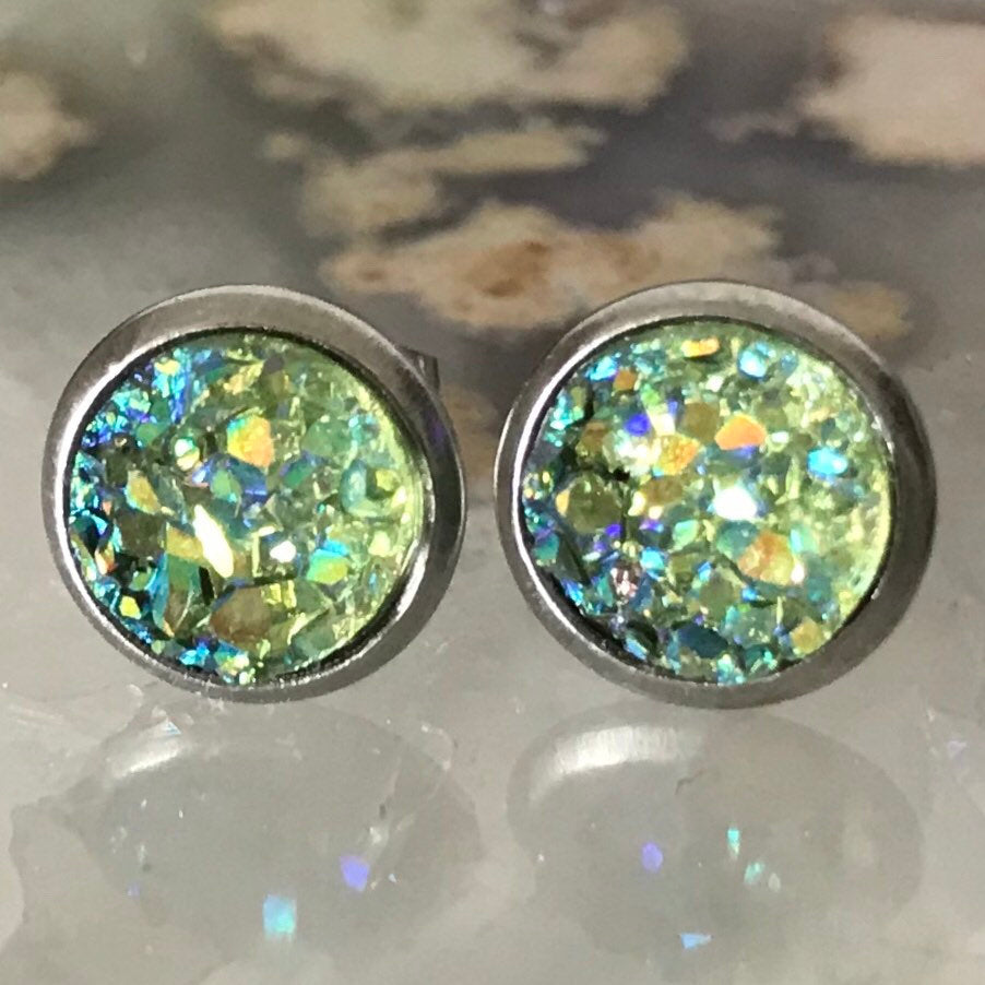 Olive green Earrings | 8 mm druzy earrings | Galaxy Earring | Crystal Earring | Faux Druzy Stud | 8mm Round | Hypoallergenic | Stainless