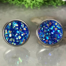 Dark Blue Earrings | 10 mm druzy earrings | Galaxy Earring | Crystal Earring | Faux Druzy Stud | 10mm Round | Hypoallergenic | Stainless