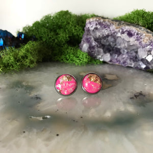 Pink Opal Earrings | 12mm Sparkle earrings | galaxy earrings | crystal earrings | round earrings | geometric | hypoallergenic | Stainless