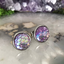 Fiver Friday Earring | Lavender Mermaid earring | Purple earring | Dragon Scale earring | Unicorn colour stud | 10mm round earring