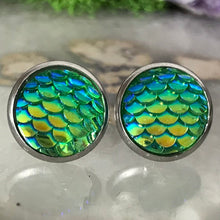 Green Mermaid Earrings |  12mm Mermaid Studs | Stainless Steel  | Dragon Scale | Fish Scale Studs | Mermaid Scale Earrings | Dragon Earring