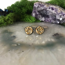 Gold druzys | 12mm druzy earrings | galaxy earrings | crystal earrings | druzy studs | round earrings | Stainless Steel | faux druzy