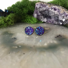 Deep Purple druzys | 12mm druzy earrings | galaxy earrings | crystal earrings | druzy studs | round earrings | Stainless Steel | faux druzy