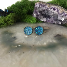 Cobalt Blue druzys | 12mm druzy earrings | galaxy earrings | crystal earrings | druzy studs | round earrings | Stainless Steel | faux druzy