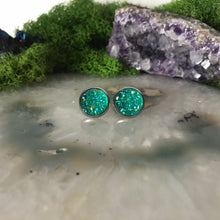 Emerald Green druzys | 12mm druzy earrings | galaxy earrings | crystal earrings | druzy studs | round earrings | Stainless Steel | faux