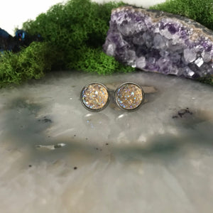 Champagne druzys | 12mm druzy earrings | galaxy earrings | crystal earrings | druzy studs | round earrings | Stainless Steel | faux druzys
