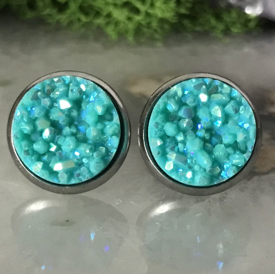 Robins Egg Blue druzys | 12mm druzy earrings | galaxy earrings | crystal earrings | druzy studs | round earrings | Stainless Steel | faux