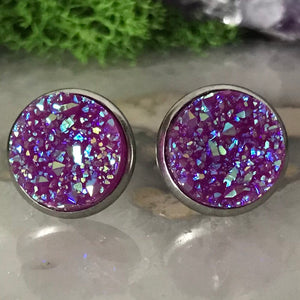 Bright Purple druzys | 12mm druzy earrings | galaxy earrings | crystal earrings | druzy studs | round earrings | Stainless Steel | faux druz