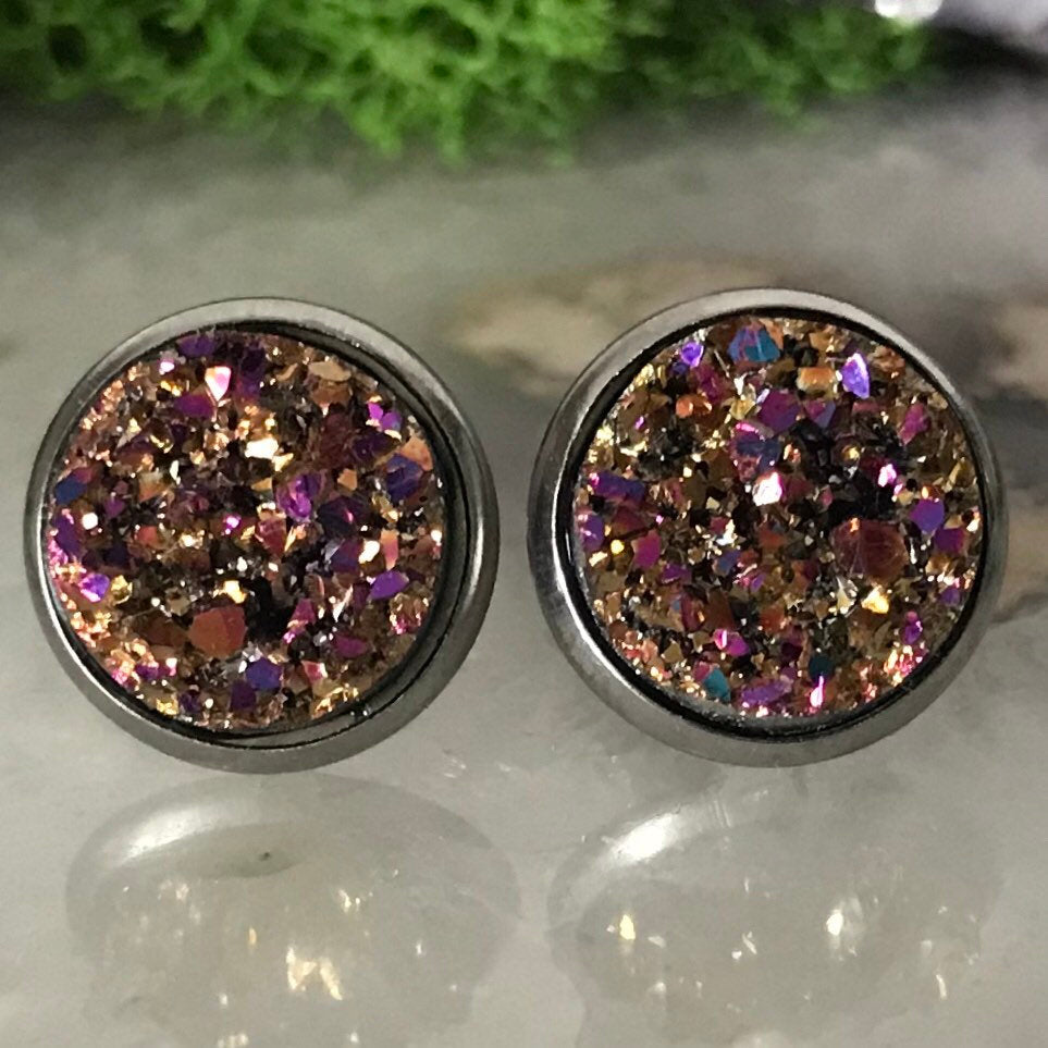 Rose Gold druzys | 12mm druzy earrings | galaxy earrings | crystal earrings | druzy studs | round earrings | Stainless Steel | faux druzy
