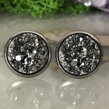 Charcoal druzys | 12mm druzy earrings | galaxy earrings | crystal earrings | druzy studs | round earrings | Stainless Steel | faux druzy