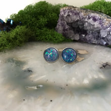 Baby Blue Irridecent Earrings | 12mm Glitter earrings | galaxy earrings | crystal earrings | Sparkle studs | round earrings | Stainless
