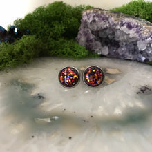 Amber Irridecent Earrings | 12mm Glitter earrings | galaxy earrings | crystal earrings | Sparkle studs | round earrings | Stainless Steel