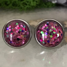 Pink Irridecent Earrings | 12mm Glitter earrings | galaxy earrings | crystal earrings | Sparkle studs | round earrings | Stainless Steel
